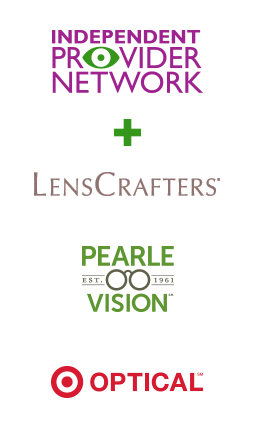 eyemed provider logos: Independent Provider Network + LensCrafters, Pearle Vision , and Target Optical
