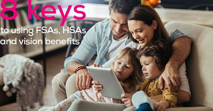 "A family using a tablet on a couch, with the text ""8 keys to using FSAs, HSAs and vision benefits"""
