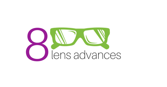 "Graphic of glasses with text that reads ""8 Lens Advances"""